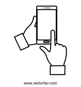 line person hands with internet smarphone technology