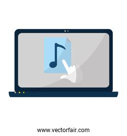 electronic laptop screen with music and cursor