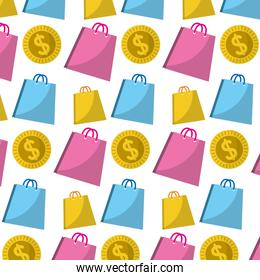 shoppig bags and coin currency background