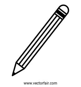 line pencil school object to drawing and write