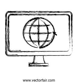 grunge electronic computer screen with global service