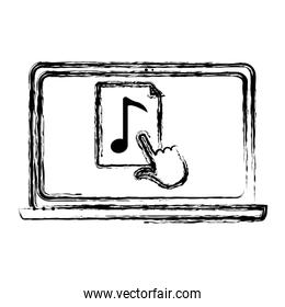 grunge electronic laptop screen with music and cursor