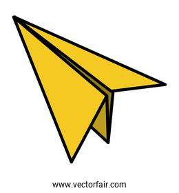 color paper airplane fly origami object