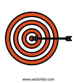 color dart board target sucess with arrow