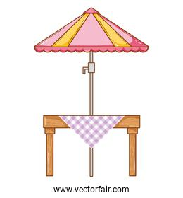 wood dining table with umbrella protection