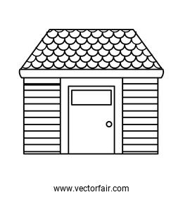 line nice house with roof and security door