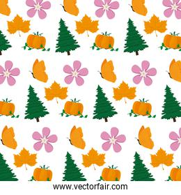 pine tree with flower and pumpkin background
