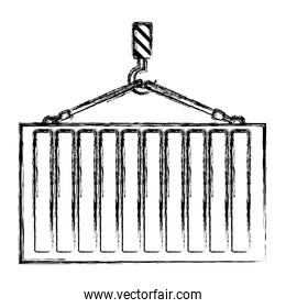 grunge cargo metal container hanging of the hook