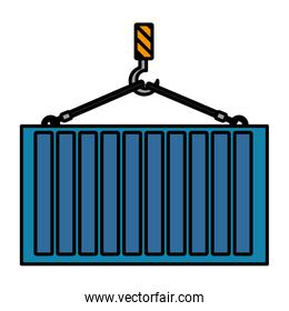 color cargo metal container hanging of the hook
