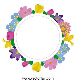 circle cute flowers with beautiful petals
