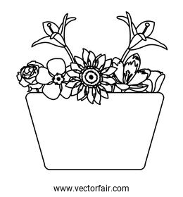 line beautiful natural flowers with petals inside basket
