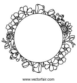 line circle cute flowers with beautiful petals