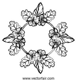 grunge circle natural flowers and leaves decoration