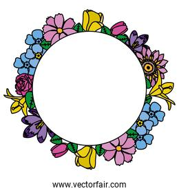 color circle cute flowers with beautiful petals