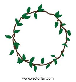 circle rustic branch with nature leaves