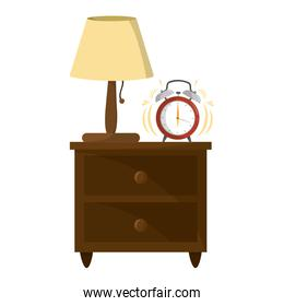 lamp and clock alarm in the wood bedside table
