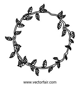 line circle rustic branch with nature leaves