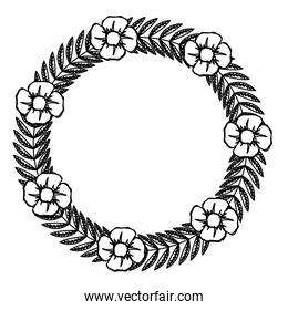 line circle rustic branch with leaves and flowers