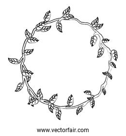 grunge circle rustic branch with nature leaves