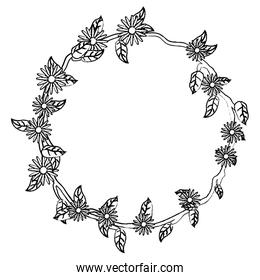 grunge circle nature branch with leaves and flowers