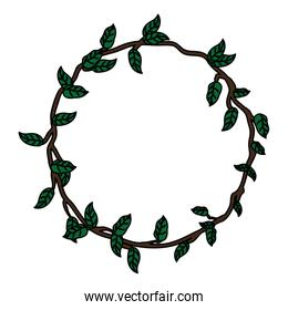 color circle rustic branch with nature leaves