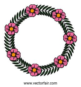 color circle rustic branch with leaves and flowers