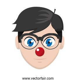 man head with glasses and clown nose