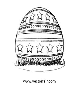 grunge egg easter with stars and points decoration