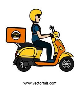 color delivery man in the motorcycle with hamburger service