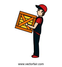 color delivery man with wood box package
