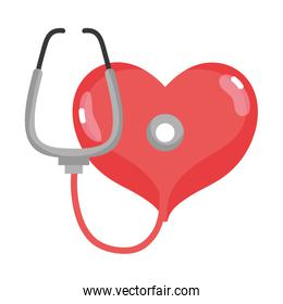 heart with stethoscope tool to rhythm sign
