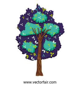 exotic tree with branches leaves style