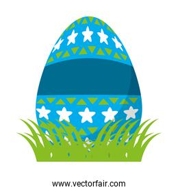 egg easter with stars and geometric decoration