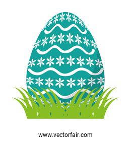 egg easter with waves and flowers shape decoration
