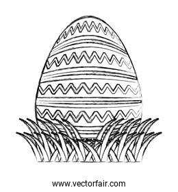 grunge egg easter event with waves lineal decoration
