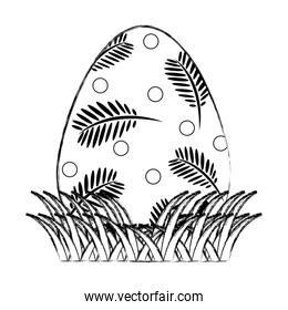 grunge egg easter with branches leaves decoration