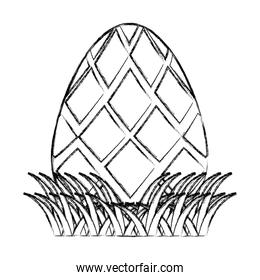 grunge egg easter with geometric shape decoration