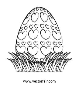 grunge egg easter holiday with hearts decoration