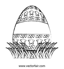 grunge egg easter with stars and geometric decoration
