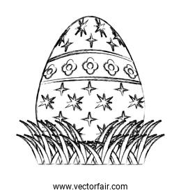 grunge egg easter with stars and flowers decoration