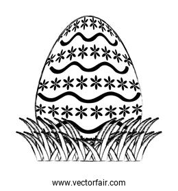 grunge egg easter with waves and flowers shape decoration