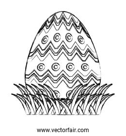 grunge egg easter with points and waves decoration