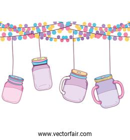 party decoation with glass bottle hanging