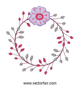 rustic flower with petals and leaves decoration