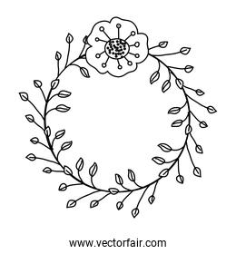 line rustic flower with petals and leaves decoration