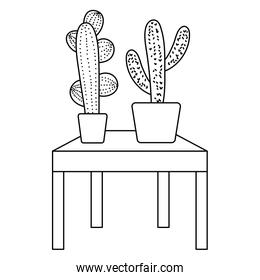 line nature cactus plant inside flowerpot in the table