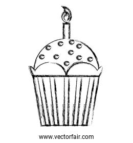grunge delicious muffin dessert food with candle