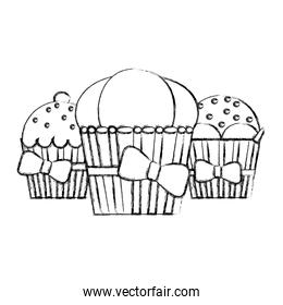 grunge delicious muffins sweet dessert with ribbon bow
