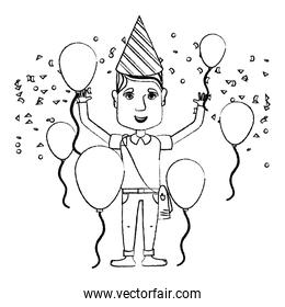 grunge man celebrating happy birthday with balloons and hat
