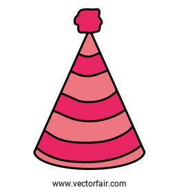color party hat object with decoration design